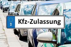 Schild mit der Aufschrift Kfz-Zulassung
