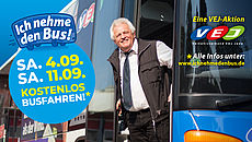 Banner mit Aktonsinformationen. Als Hintergrundbild sieht man einen Mann der sich aus einem Bus herauslehnt.