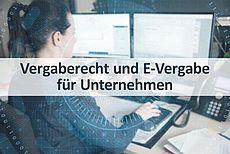 Schriftzug Vergaberecht und E-Vergabe für Unternehmen