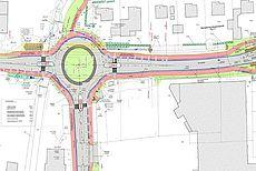 Lageplan des Kreisverkehrs in Osterupgant