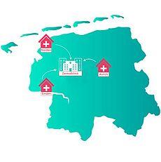Bild einer Karte des Landkreises mit den Klinikstandorten