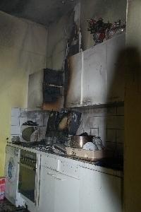 Brand in einer Küche